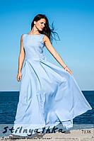 Красивое платье в пол с бантом Белоснежка голубое