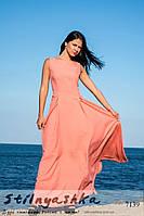 Красивое платье в пол с бантом Белоснежка персик