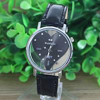 Женские наручные часы WoMaGe с циферблатом в виде сердца (чёрные)