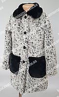 Зимнее пальто для девочек с меховым воротником и карманами