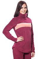 Женская,теплая,флисовая зимняя кофта бордового цвета с отворотом.Не дорого