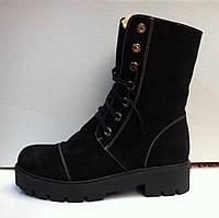 Женские ботинки зимние оптом замша кожа код 178
