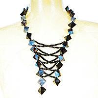 Колье из агата, сине-чёрные камни ромбовидной формы и чёрные бусины, длина 80см