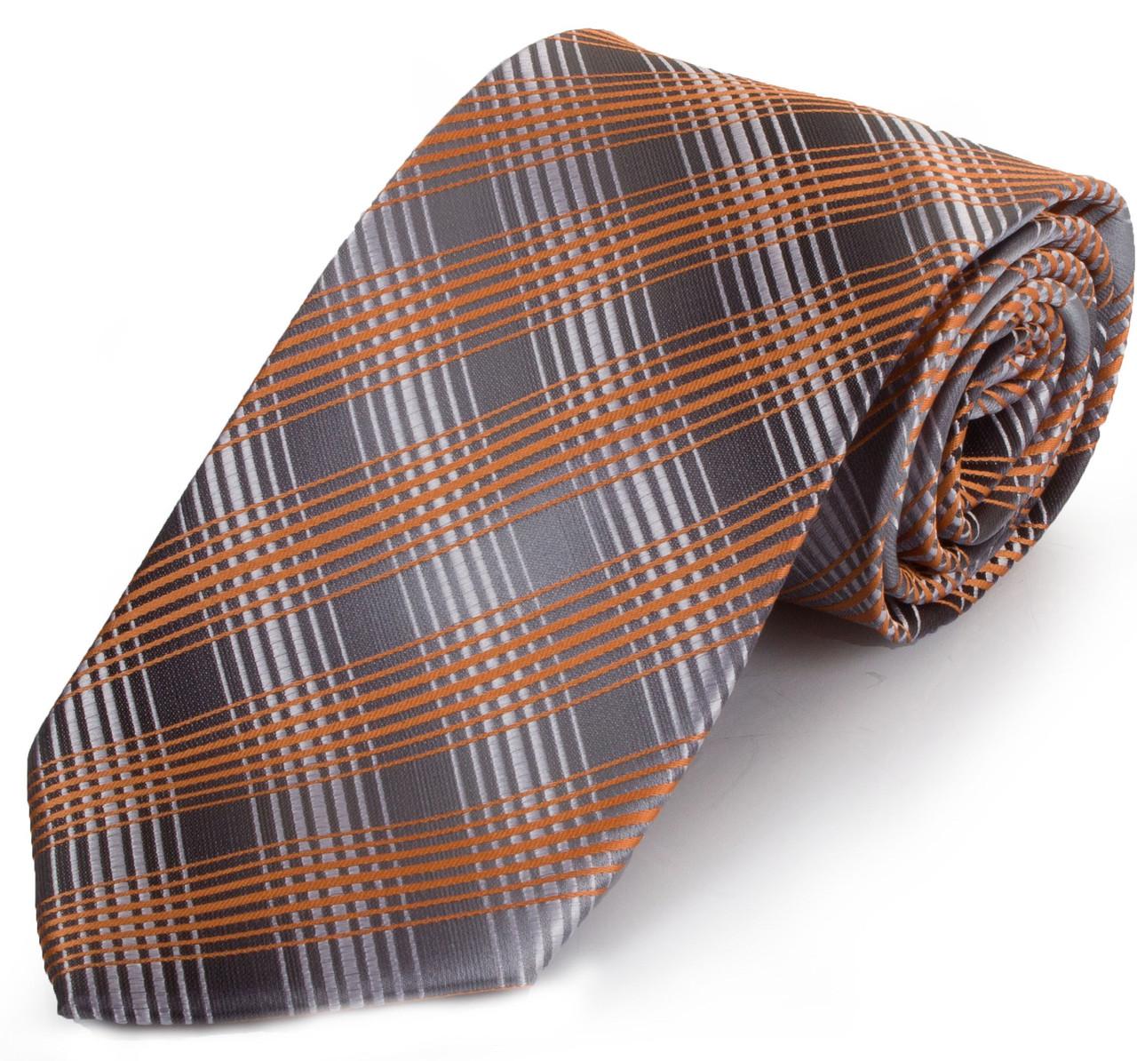 Насыщенный мужской широкий галстук SCHONAU & HOUCKEN (ШЕНАУ & ХОЙКЕН) FAREPS-93 оранжевый