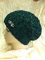 молодежная  шапка вязанная  крупной вязки  одинарная цвет зеленый