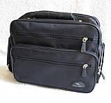 Мужская сумка через плечо добротный портфель  в2411 черная 29х24х16см, фото 2
