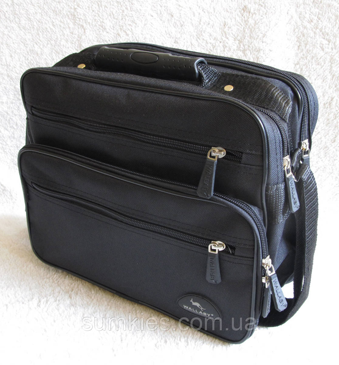 Мужская сумка через плечо портфель 8w2411 черная 29х24х16см