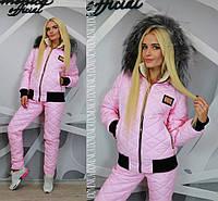 Женский стильный зимний костюм: куртка утепленная овчиной и стеганные брюки (4 цвета)