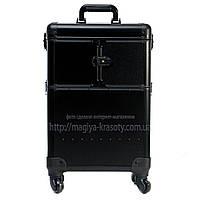 Большой чемодан для косметики, раскладной на колесах, черный матовый