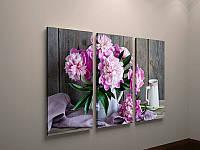 Картина настенная печать на холсте Цветы Розовые пионы 90х60 из 3х модулей