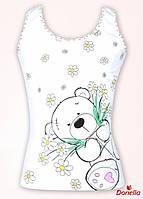 """Майка """"Мишка с цветами"""", размер 2/3"""