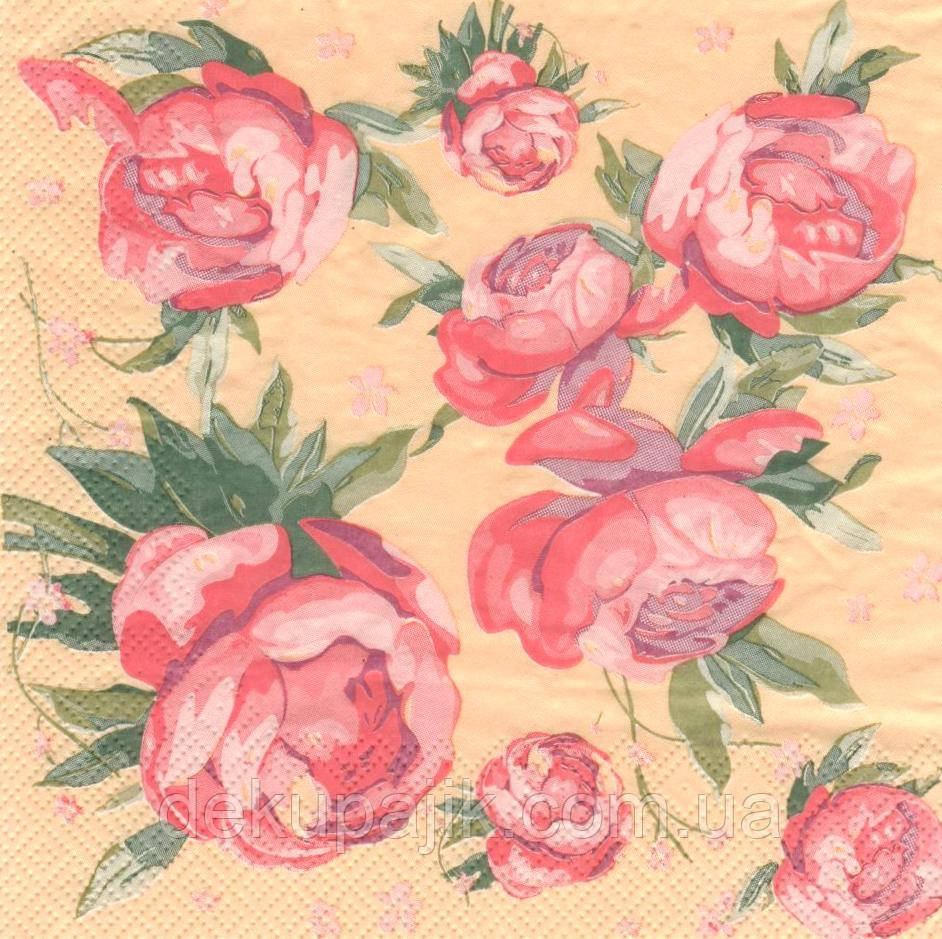 Салфетка декупажная Розовые пионы 2187