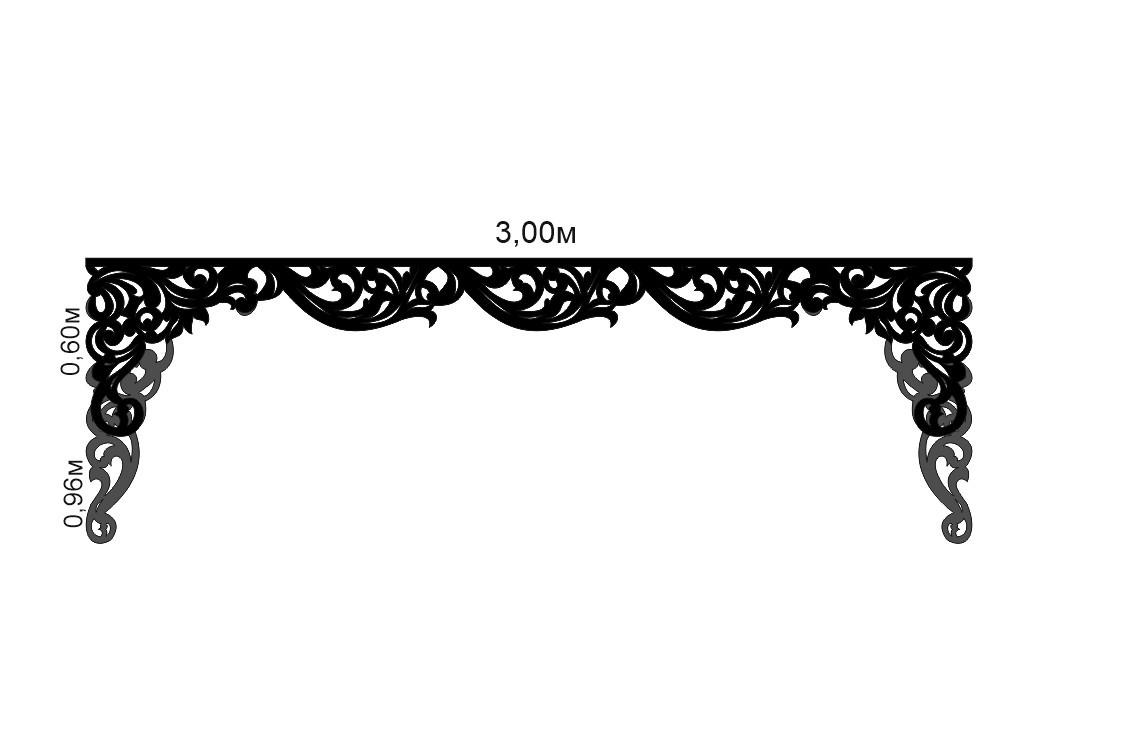Ажурный ламбрекен на карниз 3 метра