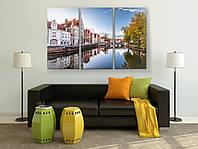 Картина модульная фотопечать на холсте Красивый пейзаж Город над водой Голландия 90х60 из 3х частей