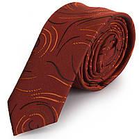 Качественный мужской узкий галстук SCHONAU & HOUCKEN (ШЕНАУ & ХОЙКЕН) FAREPY-01 оранжевый