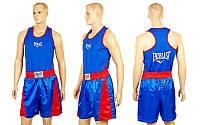 Форма боксерская ELAST VL-3062-B (PL, р-р S-L, майка-синий, шорты синий-красный)