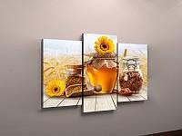 Фото картина модульная для кухни Мед Баночка меда Подсолнухи 90х60 из 3-хчастей