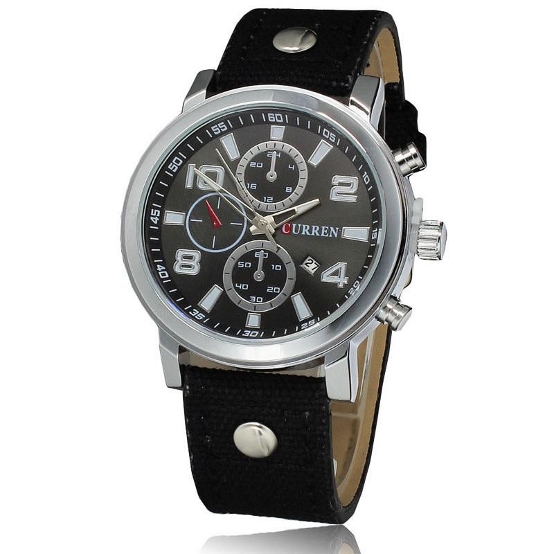 Мужские часы CURREN 8199 Silver & Black на ремешке из ткани