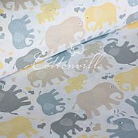 ✁ Отрезы детской ткани Слоники пастель