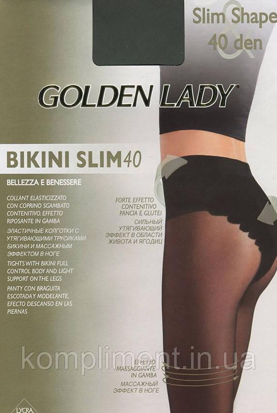 Колготки коригувальні,з мереживними трусиками Golden Ledy Bikini Slim 40 den