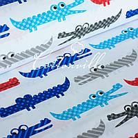 Хлопковая ткань Крокодилы красно-синие