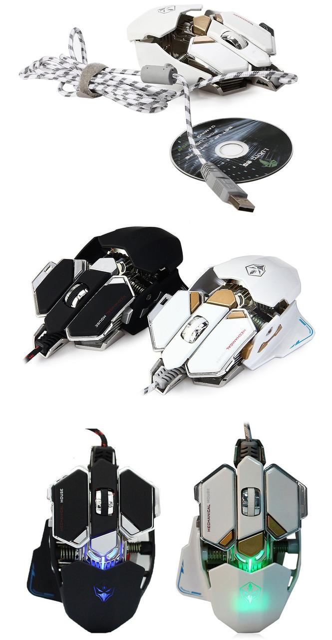 Игровая геймерская металлическая мышь Luom G10 белая