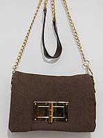 Клатч джинсовый на цепочке коричневый, фото 1