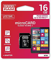 MicroSDHC 16Gb Good Ram (10class) with adapter, фото 1