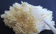 Тайские тычинки Молочные на белой нитке Матовые Капля 1 мм 25 шт/уп