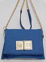 Клатч джинсовый на цепочке голубой, фото 1