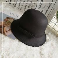 Шляпа женская фетровая котелок с бантиком и полями черная