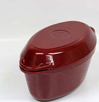 Утятница с крышкой-сковородой (320х200х130, V=5л) ЭМГ, бордовая