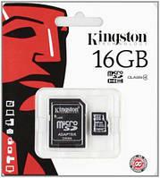 MicroSDHC 16Gb Kingston (10class) with adapter, фото 1