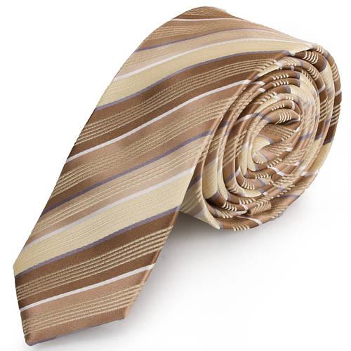 Шикарный мужской узкий галстук SCHONAU & HOUCKEN (ШЕНАУ & ХОЙКЕН) FAREPY-14 бежевый