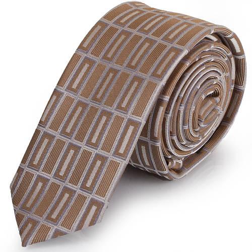 Солидный мужской узкий галстук SCHONAU & HOUCKEN (ШЕНАУ & ХОЙКЕН) FAREPY-15 бежевый