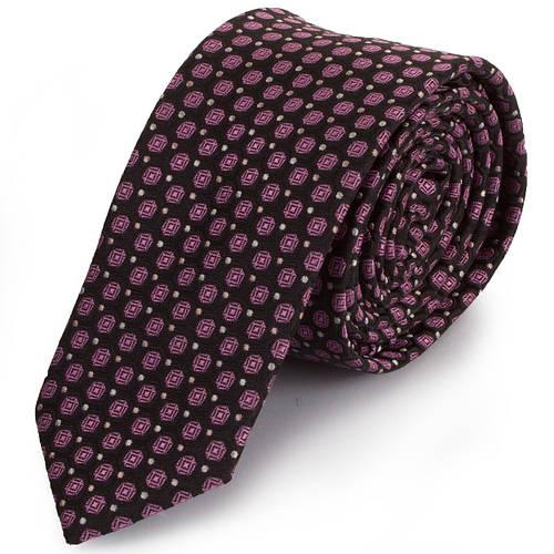 Эффектный мужской узкий галстук SCHONAU & HOUCKEN (ШЕНАУ & ХОЙКЕН) FAREPY-18 розовый