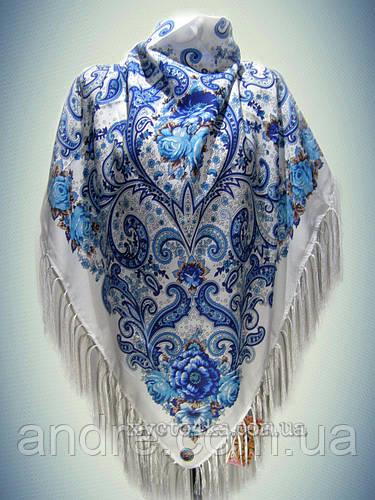 Шерстяной платок Сладкий сон, белый с бирюзой