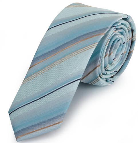 Красивый мужской узкий галстук SCHONAU & HOUCKEN (ШЕНАУ & ХОЙКЕН FAREPY-22 голубой