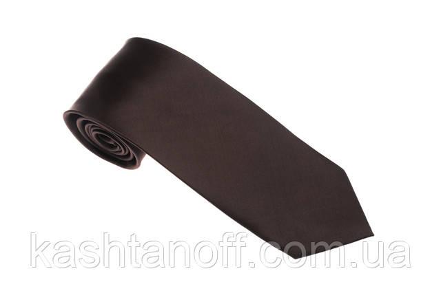 Коричневый однотонный галстук