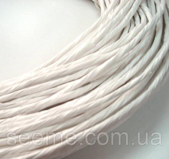 Бумажный шнур толщина 5 мм, цвет белый, 10 м
