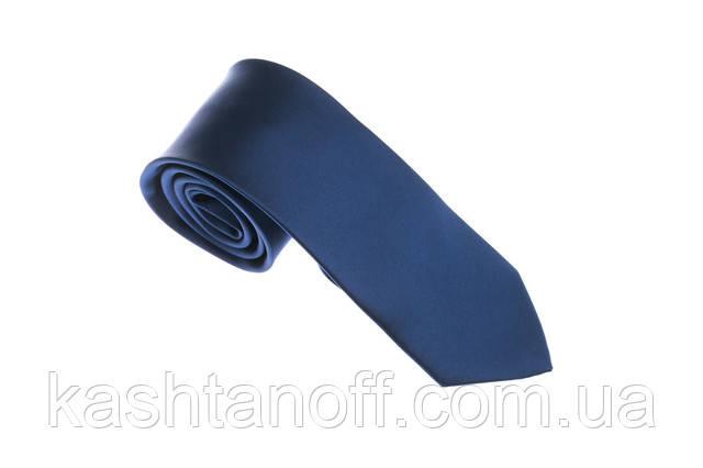 Синий однотонный галстук
