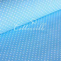 Бязь Горошки 4 мм на голубом, фото 1