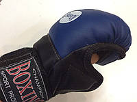 Перчатки для единоборств, рукопашного боя (кож/винил) юниорский размер, Boxing синие