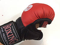 Перчатки для единоборств, рукопашного боя (кож/винил) юниорский размер, Boxing красные