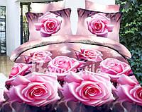 Комплект постельного белья ранфорс евро Розы 3Д