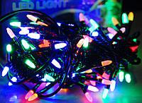Новогодняя лед гирлянда микс4х цветная на 100 матовых светодиода в виде маленькой свечи 6 метров,черный провод