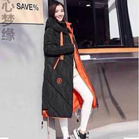 Пальто женское стеганное длинное теплое 1666 р 42-59 черное