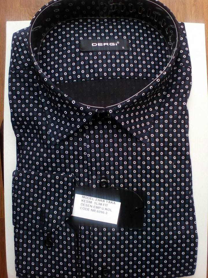 85aa76e319a Элегантная Мужская рубашка черная DERGI с длинным рукавом приталенная