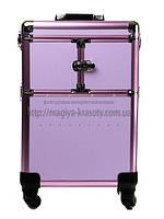 """Большой чемодан для косметики, раскладной на колесах """"Purple"""""""