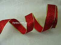 Новогодняя блестящая красная лента с глиттером для бантов с проволочным краем на метраж(ширина 5 см), фото 1